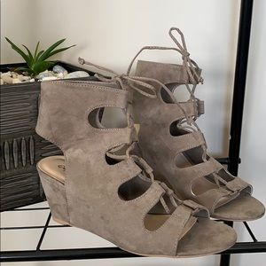 Shoes - New Taupe stroppy sandals with a 3 inch heel.